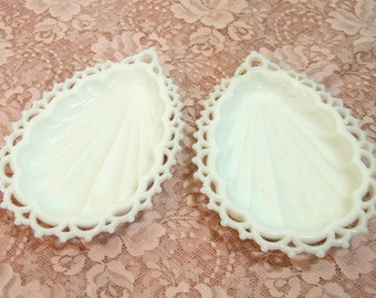 Lace Edged Teardrop  or Shell Shaped Milk Glass Dishes, Westmoreland