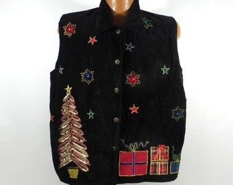 Ugly Christmas Sweater Vest Vintage Tacky Holiday Party Women's Cardigan Size 18 20