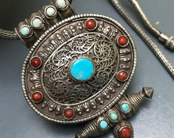 Antique Tibetan Gau . Tibetan Ghau Box . Silver . Coral .  Turquoise . Buddhist Prayer Box . Tibetan Prayer Box . Ethnic Necklace