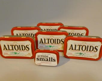 7 Empty Altoid Tins 6 Regualar 1 Mini Craft Supplies Altered Art Assemblage