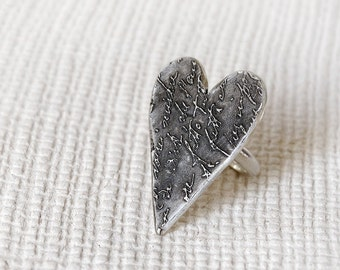 Statement Heart silver ring, Sterling Silver Heart RING, Heart Love letter RING, Valentine Heart