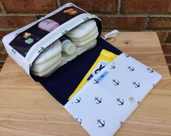 New and larger mini anchor diaper bag, new parents gift, diaper clutch with clear zipper pouch, baby bag organizer, navy blue diaper purses