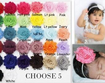 """PICK 5 HEADBANDS-2.5"""" Shabby Flower Headband-Baby Headband-Toddler Headband-Shabby Chic Headband-Headband Set"""