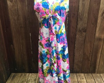 Vintage 60s 70s Maxi Long Dress Daisy FLoWERS Mod Multi Color Pink Blue Green PSYCHeDeLIC BOHO HiPPiE Medium Small