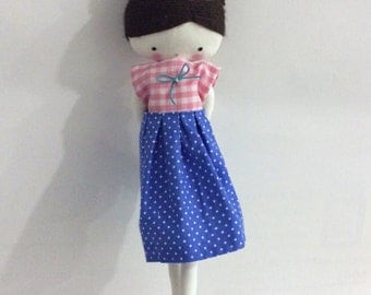 Handmade rag doll , Rose- ooak cloth art rag doll shirt and skirt, bow and socks toys for girls