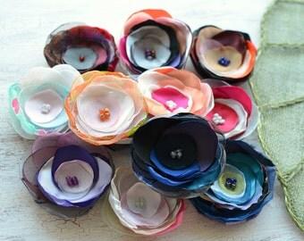 Fabric flowers, applique grab bag , handmade organza appliques, floral embellishments (12 pcs)- Grab Bag in Assorted Colors (mix set 354)