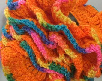 "READY TO SHIP  Handmade Women's / Teens Ruffled Crocheted Scarf / Pumpkin /Acrylic          Measures 72"" x 4"""