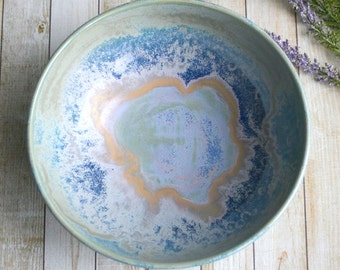 Ceramic Serving Bowl with Blue Swirling Glaze Handcrafted Stoneware Pottery Made in USA Ready to Ship