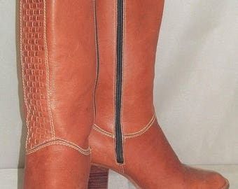 ON SALE Vintage 1970's Nine/9 West Stacked Heel BOHO Womens Leather Boots 5 1/2B