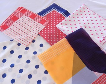 vintage scarf LOT, 5 scarves, dots, Japan USA, silk polyester, 1950s 1960s accessories