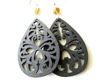 Black Wooden Filigree and Brown Glass Bead Earrings | Hippie Bohemian Style Lightweight Dangle Earrings for Women | Swirl Flourish Design