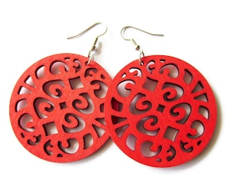 Circle Red Coloured Wooden Filigree Disc Dangle Earrings
