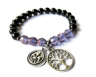 Tree of Life Charm Stretch Bracelet with Black and Purple Glass Beads