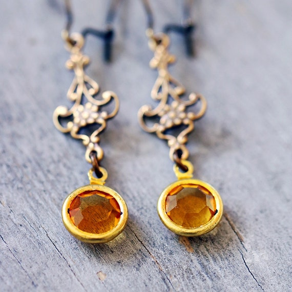 Golden Yellow Vintage Charm Earrings, Antiqued Brass Filigree, Lightweight, Victorian, Romantic