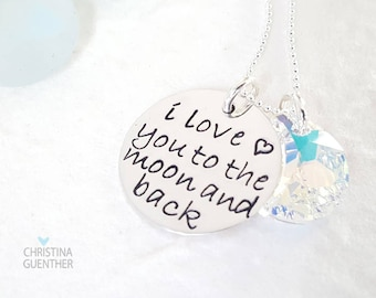 I Love You To The Moon and Back | Handmade Sterling Silver | Hand Stamped Personalized | Daughter Niece | Christina Guenther
