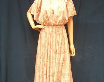 ON SALE 70s Mauve Pink Cherry Blossom Dress size Small Capelet Top Maxi Dress