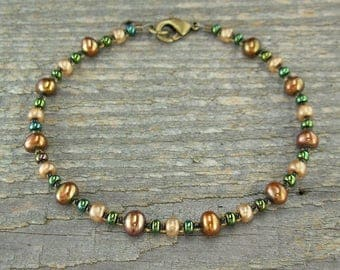 Copper-Bronze Pearl Anklet with Czechoslovakian Glass - Size X-Small to X-Large, 9-14 Inches
