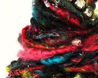 Panic at the disco- hand spun, hand dyed, art yarn.34 yards of amazing bulky magic