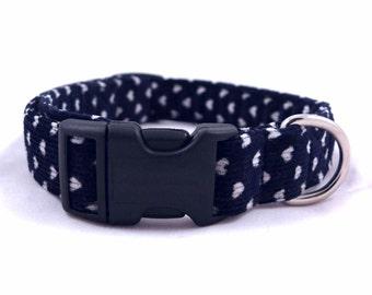 Blue&white dog collar - Dark blue pet collar - Baby corduroy dog collar - Dark blue corduroy collar - White hearts - Do you really love me