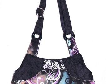 Butterfly Filigree Black - Adj Strap, Hipster, Purse, Shoulder Bag, Across Body, Hands Free, Lots of Pockets