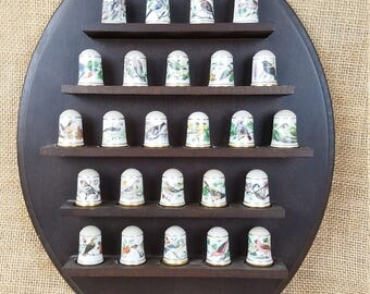 Vintage 1979 porcelain thimbles with wood wall rack birds collection set of 28