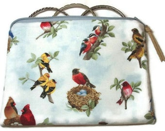 Padded Zipper Cosmetic Pouch in Nesting Bird Print