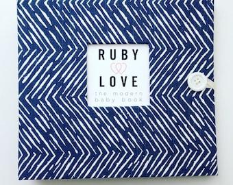 BABY BOOK | Navy Freeform Arrows Baby Book | Baby Memory Book