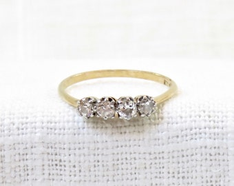 Sweet Multistone Vintage Diamond Wedding Band or Stacking Ring in 18k Gold .28 Carats