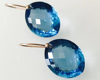 14k solid yellow or rose gold earring with natural eye-clean 31 carat 16x20mm genuine London blue topaz