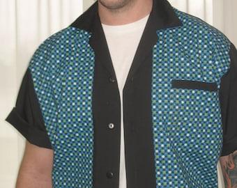 Men's Rockabilly Shirt Jac Vintage Blue Fabric