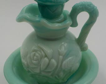 SHABBY COTTAGE CHARM -Vintage Glass Cruet with Bowl - Bath Oil Bottle - Roses - Sage agreen