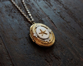 starfish locket // brass starfish necklace