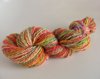 Hand Spun 2 ply Fruit Colored Wool Yarn  - Downsizing SALE  Must Go!