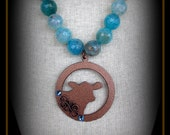 Rustic Metal Show Heifer, Steer, Cattle Jewelry Pendant on Long Boho Style leather & Gemstones Approx 28""