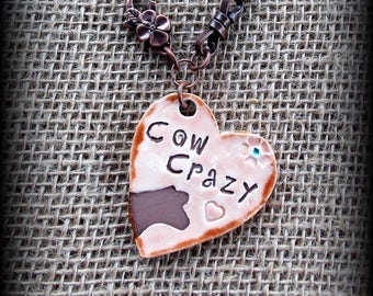 Ceramic Livestock, Show Steer, Cattle Pendant On Leather, Chain & Bead Chain Necklace