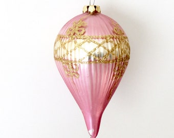Pink Glass Christmas Ornament Hot Air Balloon Gold Glitter Vintage Christmas Ornaments