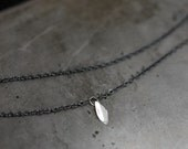 Silver Leaf…petite sterling silver necklace on oxidized sterling silver chain