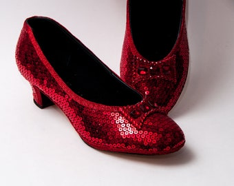 Sequin - French Scoop Two Inch Heels Character Shoes with Red Rhinestone Bow