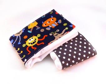 Boy Burp Cloth - Monster Burp Cloths- Gray Blue Orange Dots- Diaper Burp Cloth set of 2 - Cotton Burp Cloth