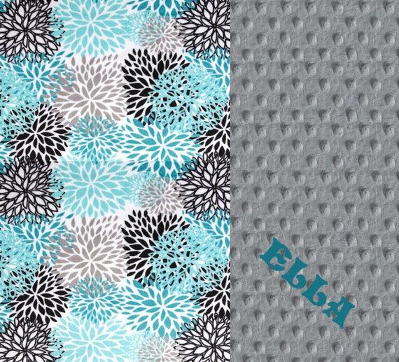Floral Minky Blanket 60 x 70 Adult Minky Blanket, Teal Personalized Blanket / Flower Blanket / Teal Minky Throw Blanket / Twin Blanket