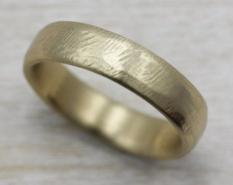 6mm hand hewn mens wedding band gold or palladium recycled eco - Eco Friendly Wedding Rings