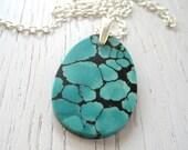 Black Friday SALE - Lovely Turquoise Slab Pendant Necklace