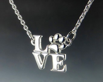 I Love Paws Silver Necklace