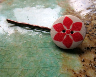 Red Flower Bobby Pin, hair accessory, hair pin, bobbie pin, wood button