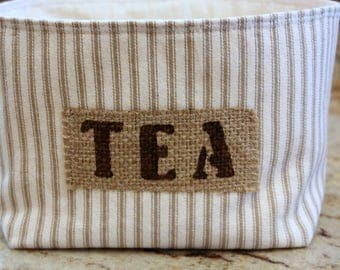 Medium Ticking Fabric Coffee Basket with a Burlap Label - Select Your Color