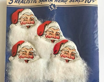 HOLIDAY CLOSEOUT 50% OFF Vintage Christmas Seals Gift Stickers Package Unused Lot of 4 Santa Claus Beard A-meri-card