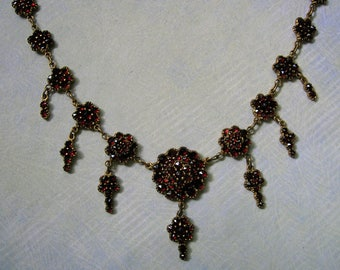 Antique Victorian Bohemian Garnet Necklace, Old Garnet Necklace, Bohemian Garnet Necklace (#3189)