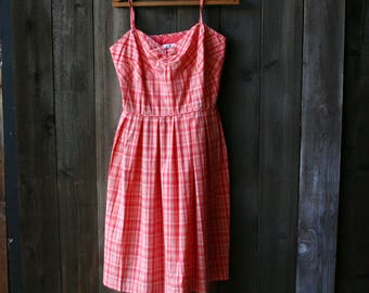 Vintage Dress Spaghetti Strap Sun Dress Orange and White Plaid From Loft