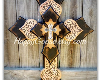 Wall CROSS - Wood Cross - Large - Antiqued Black and Tan, Leopard / Cheetah print, with silver top cross