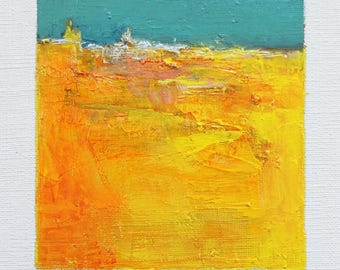May 22, 2017 - Original Abstract Oil Painting - 9x9 painting (9 x 9 cm - app. 4 x 4 inch) with 8 x 10 inch mat